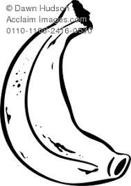 banana clipart black and white. clip art illustration of a banana drawn in black and white clipart