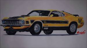1970 Ford Mustang Mach 1 Twister Special Time Lapse Drawing - YouTube