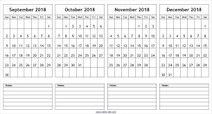 Calendar Quarters 2018 Calendar Quarters With October November December 3 Months