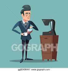 Select from premium coffee delivery images of the highest quality. Vector Stock Cartoon Businessman Making Coffee Work Break Vector Illustration Stock Clip Art Gg92406447 Gograph