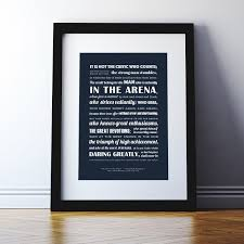 Personalised The Man In The Arena Typographic Print