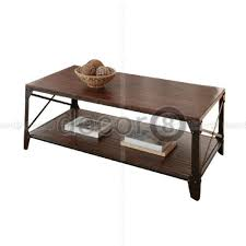 conte modern industrial coffee table rectangle walnut finish