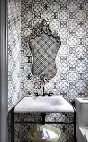 Rococo Decorative Wall Tile Powder Room with Blue and Gray Odyssey Rococo Tiles Contemporary 31