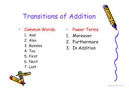 Transition Words English Esl Powerpoints
