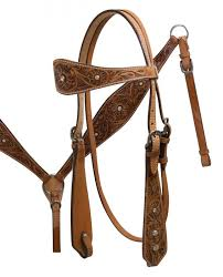tooled leather bridle t collar set