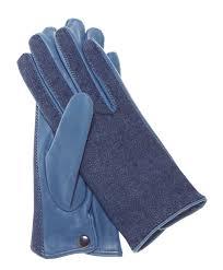 blue denim women s italian leather gloves