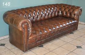 Impressive Tufted Brown Leather Sofa 148 Brown Leather Chesterfield Tufted  Sofa 77quot Long At Lot 148