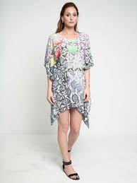Eclectic Pop Lotus Crepe De Chine Belted Kaftan Dress Maati