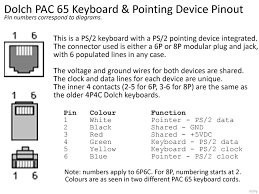 dolch keyboard adapter rj11 type to ps 2 or usb going by the dolch pinout linked above and a ps2 keyboard pinout pinouts ru inputs keyboardpc6 pinout shtml i identified which wires in the ps2
