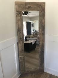 handmade wood framed full length mirror