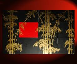 oversized painting original bamboo art asian style modern abstract art black red gold large 80x48