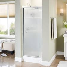 delta mandara 31 in x 66 in semi frameless pivot shower door in chrome with rain glass