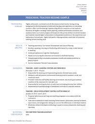 Preschool Teacher Resume Chronological Resume Templates Preschool