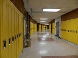 hallway at school. hallway in huron high school ann arbor at
