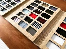 tri fold windows tri fold swatch book in bamboo featuring custom cut fabric