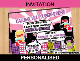 superheroes birthday party invitations comic superhero girls birthday party invitation card personalized
