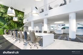 office interior. Garden Wall In Office Interior. Green Modern Meeting Room. Plants Interior