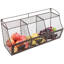 metal storage crates. Contemporary Storage Amazoncom  Large Rustic Brown Metal Wire Wall Mounted Hanging Fruit  Basket Storage Organizer Bin WChalkboards And Crates T