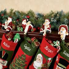 Checking It Twice Santa Stocking Holder Set in Christmas Stocking Holders  For Fireplace