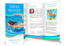 Fun Brochure Templates Happy Active Underwater Child Swims In Pool Beautiful Healthy Girl Swimming And Having Fun On Famil Brochure Template