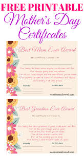 Certificates To Make Free Mothers Day Printable Certificate Awards For Mom And