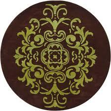 venetian brown green 8 ft indoor round area rug