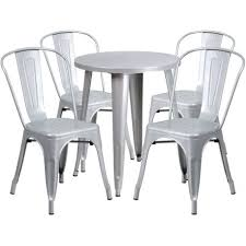 round silver metal indoor outdoor table set w 4 cafe settings australia chairs for restaurant bar
