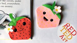 kawaii strawberry bookmark corner easy paper crafts kins inspired you