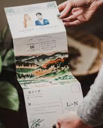 Wedding Invitation Folding Illustrated Fold Out Watercolor Wedding Invitations
