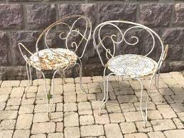 vintage wrought iron garden chairs set of 2 4