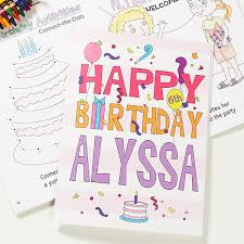 Personalized Birthday Coloring Books Happy Birthday