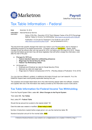 Tax Table Information Federal