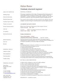 Graduate Structural Engineer Cv Sample