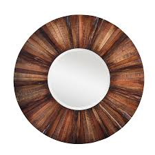 cooper classics kona natural rustic wood beveled round wall mirror
