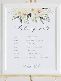 Wedding Order Of Events Template Blush Floral Wedding Order