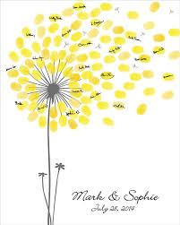 Birthday Guest Book Template Wedding Guest Book Dandelion Fingerprint Anniversary Poster