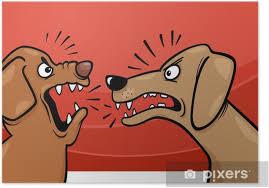 Vrede barking hunde tegneserie illustration Plakat • Pixers® - Vi lever for forandringer