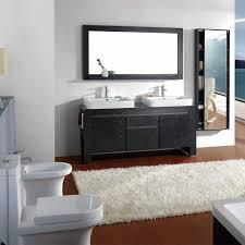 bathroom place vanity contemporary: luxurious fur area rug and mirrored wall storage door idea feat modern black bathroom vanity design