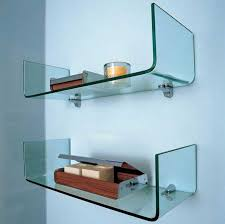 cute wall shelves for bathroom with mounted curved glass shelf designs 6