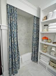 cornice board shower curtain in traditional bathroom