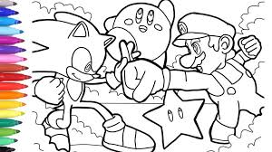 Sonic Coloring Book Pages Vs Mario How To Draw For Kids Youtube