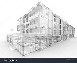 architecture design concept. Modern Apartment Building Drawing Design Concept Architects Computer Generated Architecture