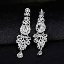 women retro full rhinestones long dangle drop chandelier earrings bridal jewelry 7
