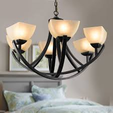 6 light black wrought iron chandelier with glass shades dk 8016 6