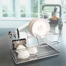 3 advantages of having dish drying rack. Diamond Modern Kitchen Stainless Steel 2-Tier Dish Drying Rack And Draining Board - Organized Utensil Holder Mug Dryer Silver 3 Advantages Of Having