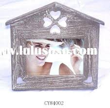 antique wooden photo frame for home decoration house shape