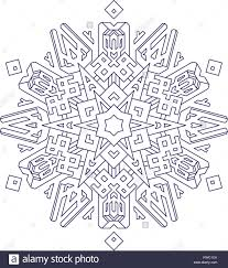 Outlines Of Snowflake In Mono Line Style For Coloring Coloring