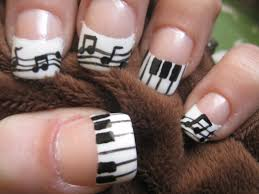 Handpainted Music French Tips with Music Notes and Piano Keys ...