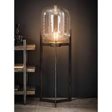 Vloerlamp Glas Support Met Metalen Frame Oud Zilver