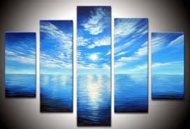blue ocean white clouds landscape oil painting on canvas with stretched frame ready to hang on framed blue wall art set with blue ocean white clouds landscape oil painting on canvas with